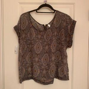 Flowy mixed pattern short sleeve blouse